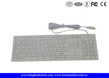 White Color Full Keys Waterproof Keyboard with IP68 Compliance , CE / FCC / RoHs